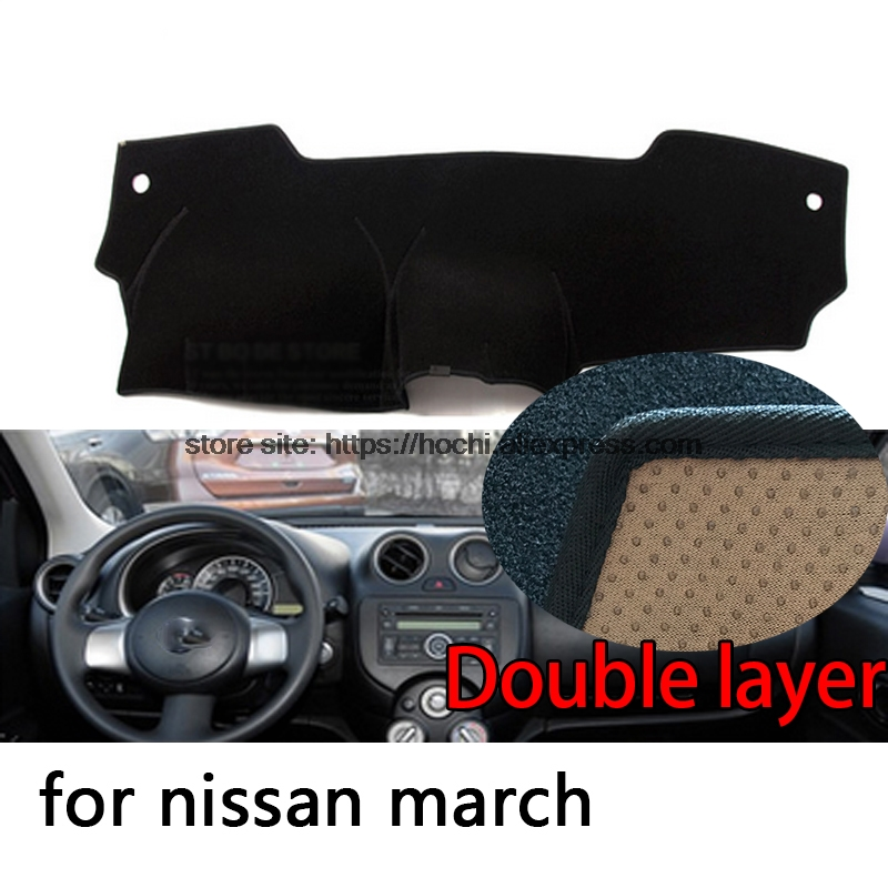 For nissan march 2011-2015 Double layer Silica gel Car Dashboard Pad Instrument Platform Desk Avoid Light Mats Cover Sticker for toyota crown 2004 2016 double layer silica gel car dashboard pad instrument platform desk avoid light mats cover sticker