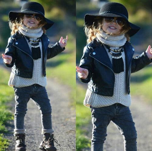 Fashion Cool Child Toddler Kids Girls Clothing Faux Leather Jacket 2-7 Zippered Thin Black Coats