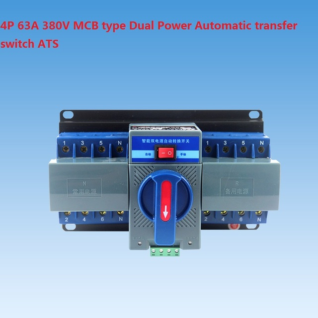 4P 63A 380V MCB type Dual Power Automatic transfer switch ATS-in ...