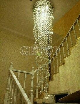 Doppia Lampada A Sospensione | ZYY Moderna K9 Cristallo GU10 LED Lampadario In Acciaio Inox Di Lusso Doppia Spirale Luce Di Soffitto Per Stair Hotel Villa Lighting