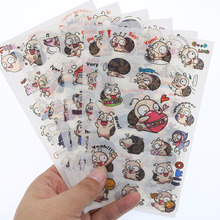 6 Sheets / Pack Cartoon Retro Stamp Happy Snail Blossoming Cat Peach Transparent Sticker Album Decoration