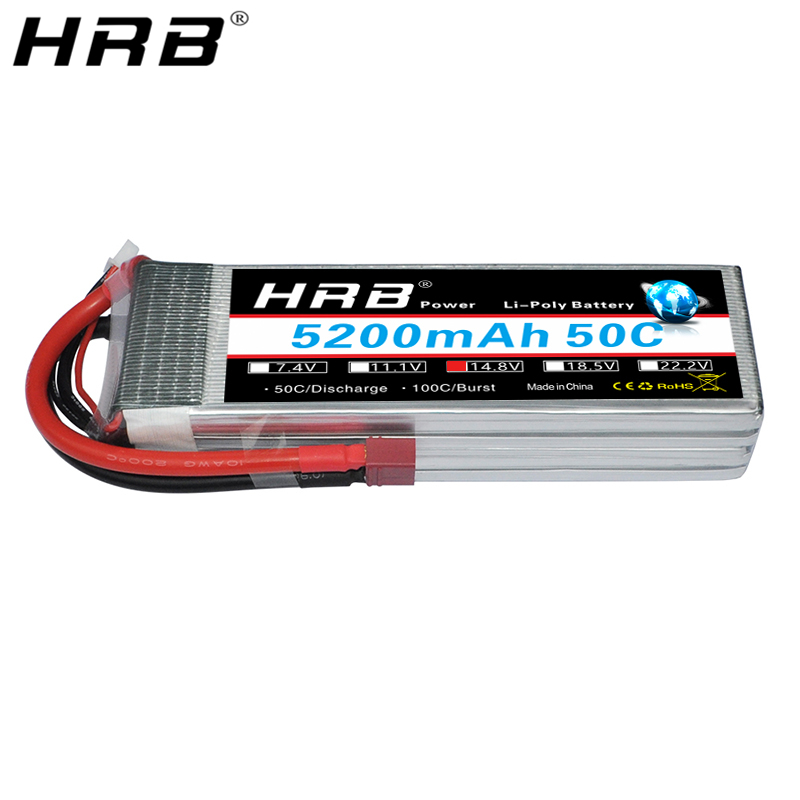 HRB <font><b>14.8V</b></font> <font><b>5200mah</b></font> Lipo 4S Battery XT90 T XT60 Deans EC5 TRX For Racing Cars Helicopter Airplane Monster Truck Boats RC Parts 50C image