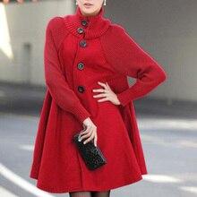 New Autumn Winter Women's Woolen Coat Female Single-Breasted Windbreaker Winter Cloak Knit Long-slee