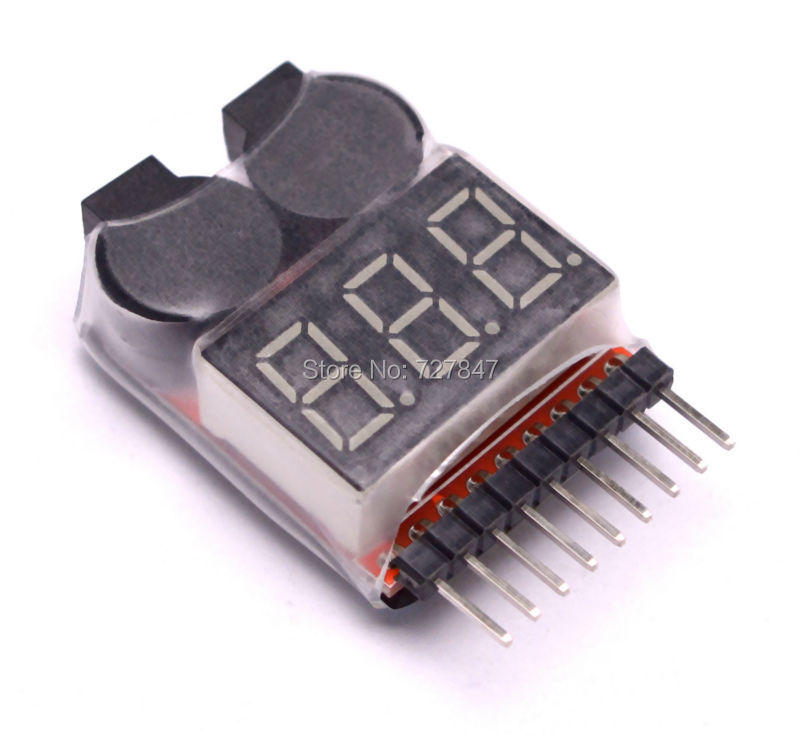3.7-30V 1-8S Lipo/Li-ion/Fe Battery Voltage 2IN1 Tester Low Voltage Buzzer Alarm rc model 2s 3s 4s detect lipo battery low voltage alarm buzzer