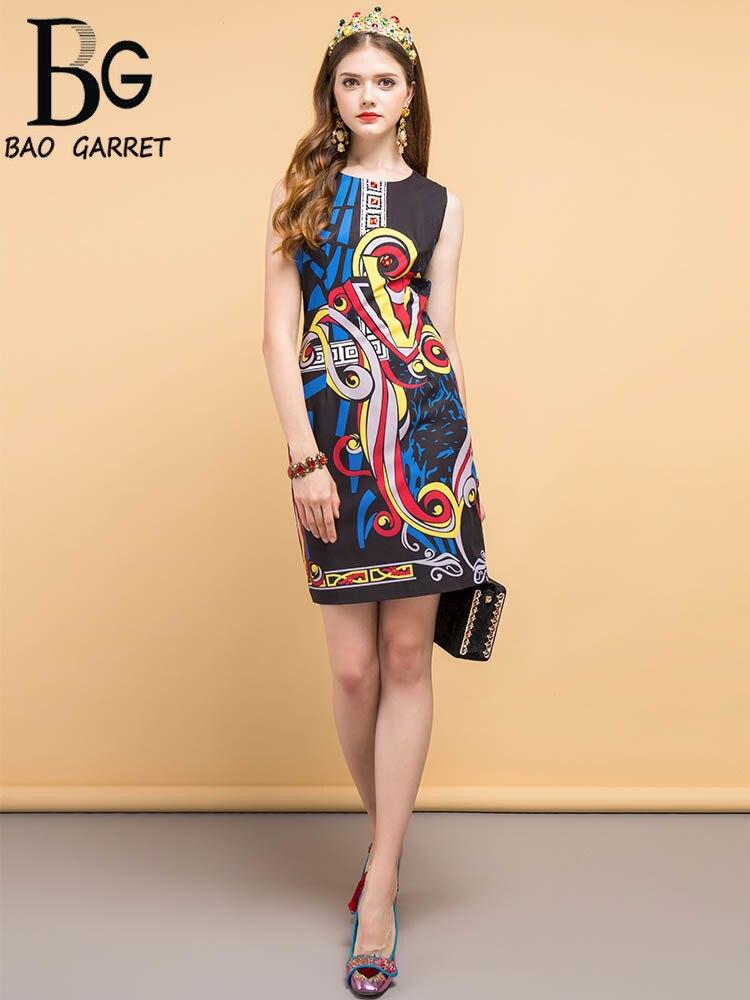 Baogarret 2019 robe d'été de créateur de mode femmes sans manches perles géométrique imprimé élégant Vintage dames robes