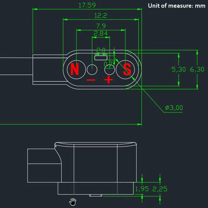 Magnetico di Carica Cavo di Ricarica Per una Crescita Intelligente Orologio con Componenti Magnetici Spina Per 2 Spilli Distanze 2.84 millimetri Nero Romanzo Caricatore di Potere cavi