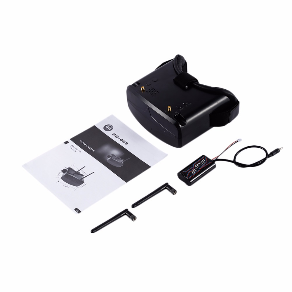 1set LightWeight 5.8G 40CH 480x272px 4.3 Inch HD FPV Goggles Video Glasses With 7.4V 2200mAh Battery