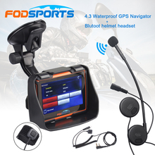 Bluetooth Headset +4.3 Inch Navigation Waterproof Motorcycle GPS Navigator 256M RAM 8GB Flash Free Maps Instruction Voice