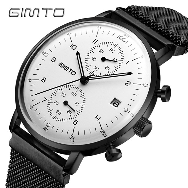 2018 GIMTO Luxury Brand Men Sports Black Watch Steel Waterproof Military Quartz Male Watches Creative Clock Relogio Masculino gimto brand sports quartz watch men fashion casual luxury military watch steel waterproof men s watches clock relogio masculino