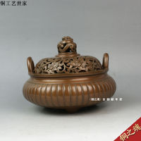 Wholesale Old antique rare crafts Antique incense burner copper incense stove copper consequently furnace quality copper crafts