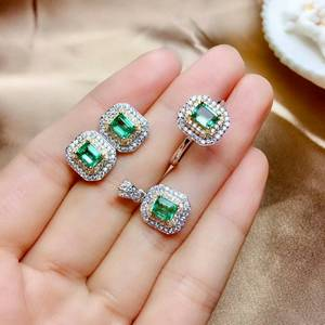 Image 5 - MeiBaPJ Luxurious Natural Columbia Emerald Gemstone Jewelry Set 925 Sterling Silver 3 Siut Green Stone Fine Jewelry for Women