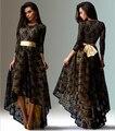 Европейский и американский женская сексуальность платья ну вечеринку ночной клуб платье с длинным рукавом кружева черное платье Большой размер ласточкин хвост платье CH-248