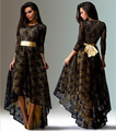 European And American Womens Sexy Dresses Party Night Club Dress Long Sleeve Lace Black Dress Plus Size Dovetail Dress CH-248