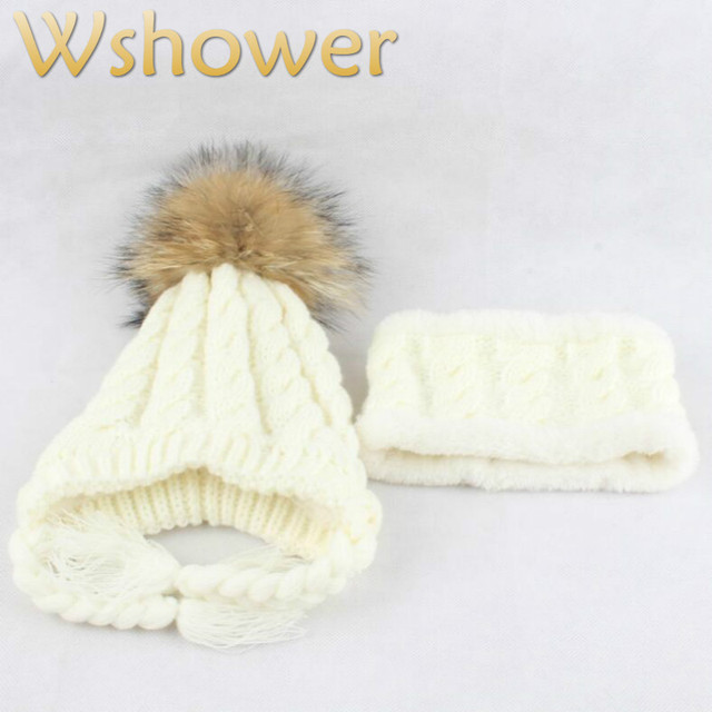 97893e2f612 Winter Children Hats Accessories Real Raccoon Fur Pompom Scarf Beanie Sets  Kids Girl Fleece Liner Thickened Warm Earflap Hat Cap