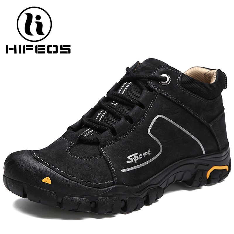 HIFEOS winter men's hiking shoes leather comfortable cashmere outdoor trekking sneakers anti-slip boots high-top breathable M077 hifeos outdoor hiking shoes anti slip boots lace invisible increased men s shoes comfortable breathable sneakers climing m065