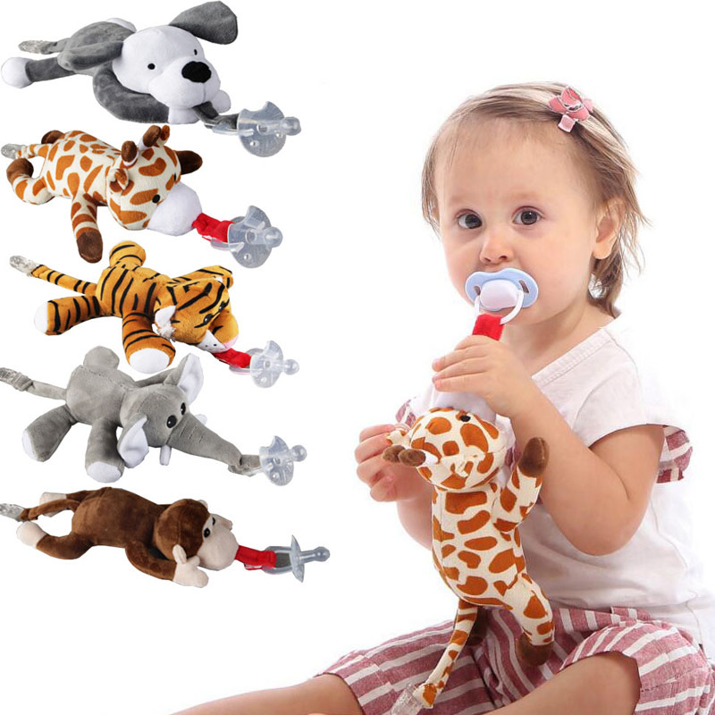 Baby Pacifier Chain Clip Newborn Infant Cartoon Animal Plush Nipple Soother Toys Baby Boys Girls Detachable Pacifier Feeding