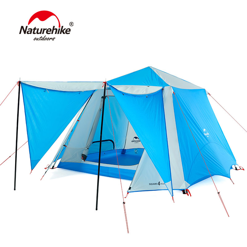 4-6 person double layer camping tent high quality waterproof camping outdoor family tent one bedroom & 2 living rooms NH18Z050-P 2015 new style high quality double layer untralarge one hall one bedroom family party camping tent