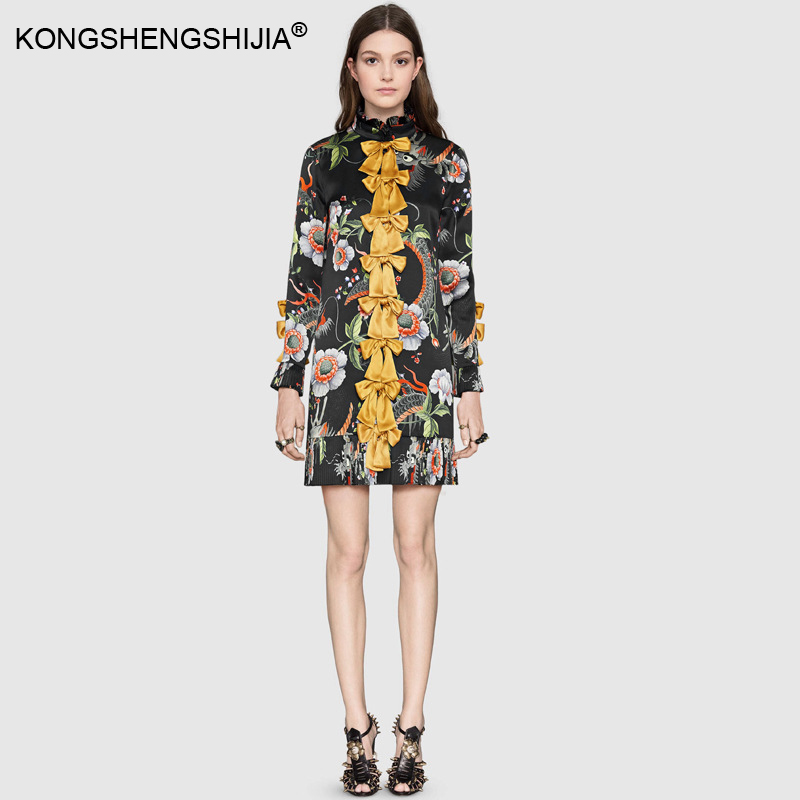 US $59.0 |runway designer women\'s plus size dresses Imitation silk dragon  print floral gold bow knot knitted bow pleated ruffles dress-in Dresses  from ...