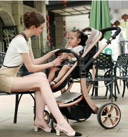 High Quality High View Aluminum Alloy Bidirectional Detachable Suspension Folding Baby Stroller Pram To Sit Or