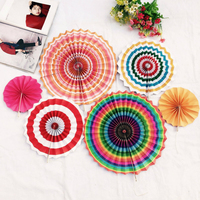 6 PCS Set Colorful Paper Fans Round Wheel Disc Southwestern Pattern Design For Party Event Home
