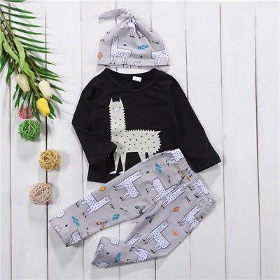 3Pcs Newborn Toddler Baby Alpaca Set Clothes 0-24M 3