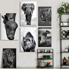 Black White Animal Leopard Elephant Art Print Poster Vintage Classic Canvas Pop Picture Wall Painting for Home Decoration