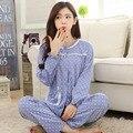 De manga larga mujeres knit del algodón pijama ropa de dormir ropa de noche ocasional Homewear Pijamas Mujer Pijamas de la señora joven Pijamas