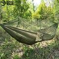 1-2 Человек Открытый Москитная сетка Парашютом Гамак Кемпинг Висячие Спальная Кровать Качели Портативный Двойной Стул Hamac Army Green