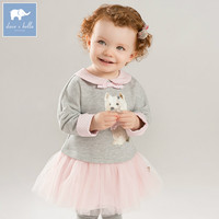 DB8415 dave bella autumn baby long sleeve dress girls mini dress children party birthday clothing infant toddler mesh clothes