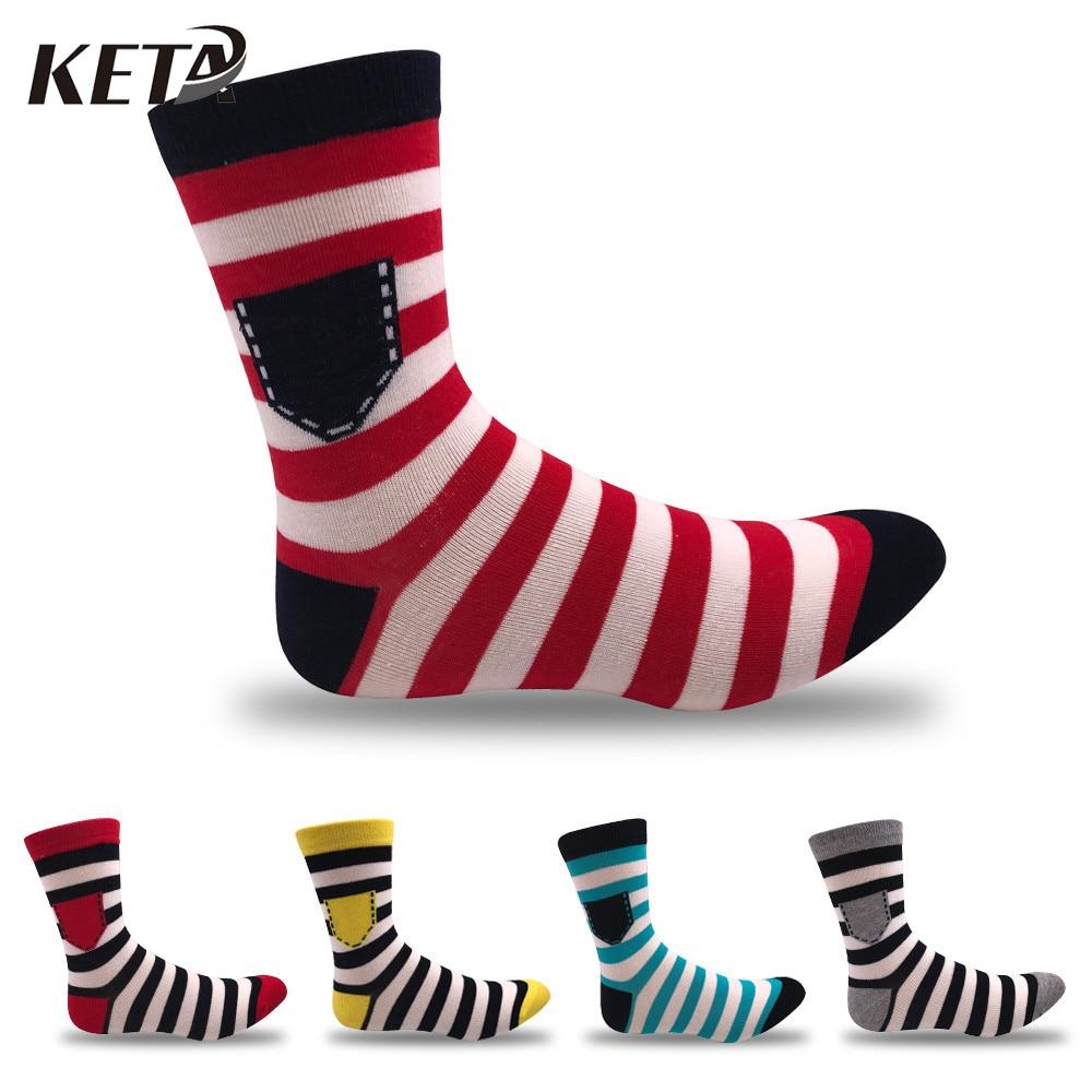 KETA Fashion Colorful Striped Men Socks Male Casual Brand Happy Socks Men Combed Cotton Crew Socks For Men Dress Socks(5Pairs)