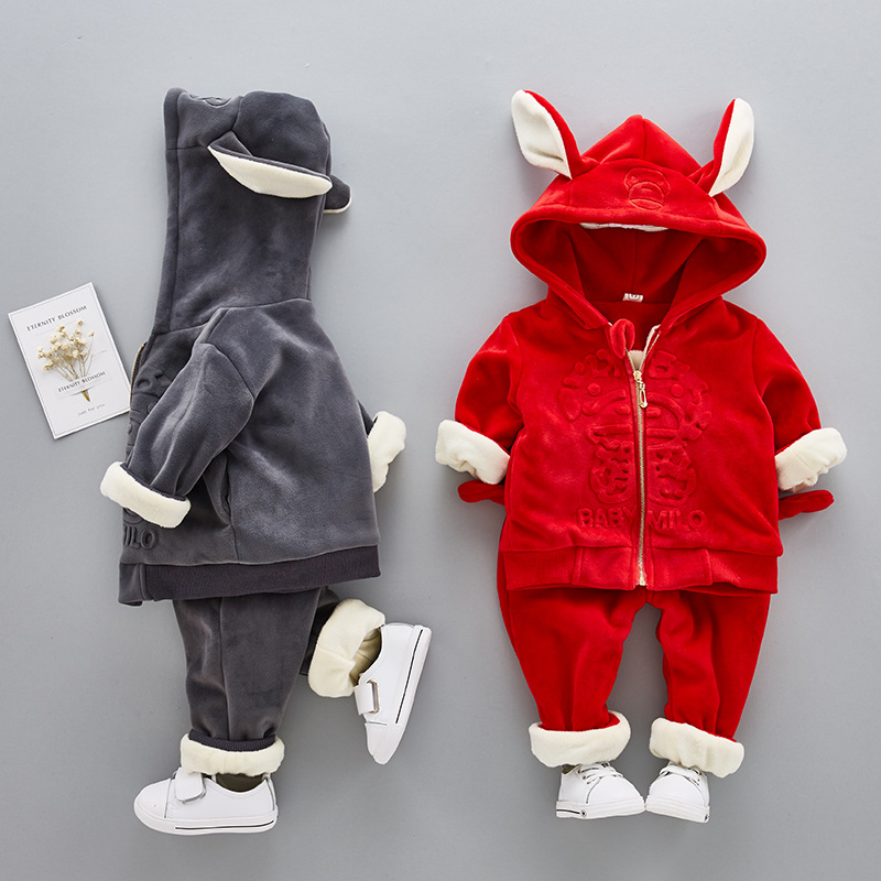 цены на Children Clothing Set Christmas Costumes Hooded Gold Velvet Fleece Warm Jacket + Thick Pants Two Pieces Set Winter Sport Suit в интернет-магазинах