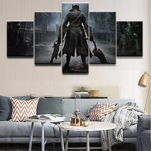 Poster HD Printed Canvas Large Painting Frame Home Decor 5 Pieces Game Bloodborne Warrior Wall Art Pictures For Living Room