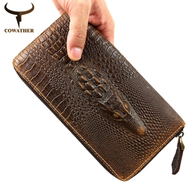 COWATHER 2016 top cow genuine leather Alligator pattern fashion men wallets for men exquisite carteira masculina free shipping