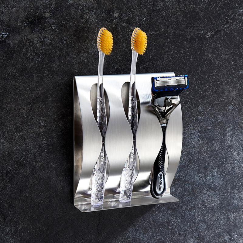 Wall Mount Toothbrush And Razor Holder Self-Adhesive Stainless Steel Bathroom Cabinet Organizer Accessories
