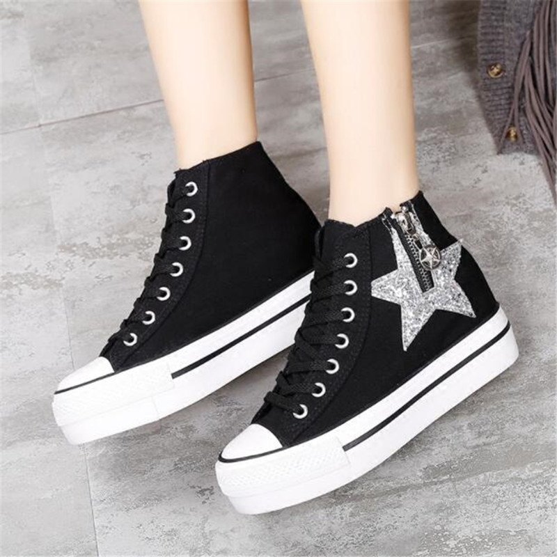 672ee0dd6baa ... Up Casual Canvas Shoes. . Thick Bottoms Women Sneakers Hidden Heel  Canvas Platform High Top Wedge sneakers New Glitter Sequins Lace. sku   32968507745