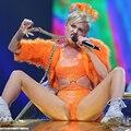 Бесплатная доставка сексуальная королева на заказ то же самое с майли оранжевый светоотражающий выдалбливают горный хрусталь купальник и пальто устанавливает костюм