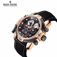 Reef Tiger Mens Watches with Complicated Dial Rose Gold Case Automatic Military Sport Watch with Rubber Strap Relogio Masculino 4