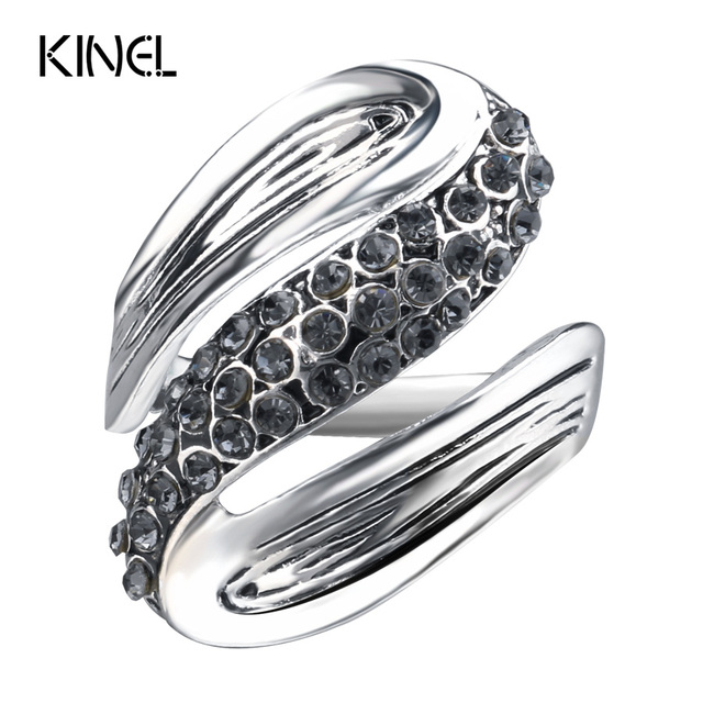 Kinel 2017 New Gray Crystal Rings For Women Antique Silver Color Retro Jewelry U