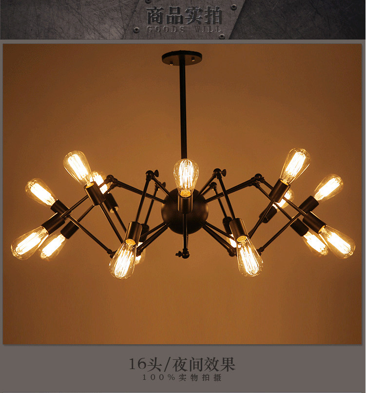 Loft Retro big Spider Chandelier Lighting DIY 14 Lights Edison Retro vintage E27 AC 110V 220V black lighting chandeliers modern