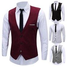 Горячее новое поступление мужской классический формальный деловой Приталенный жилет с цепочкой костюм смокинг жилет 08WG