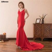 W Magazynie Sexy Backless Syrenka Evenig Sukienka Czerwone Eleganckie Proste Suknie Wieczorowe Długa Suknia Formalna V Neck Chic Kobiety Suknia