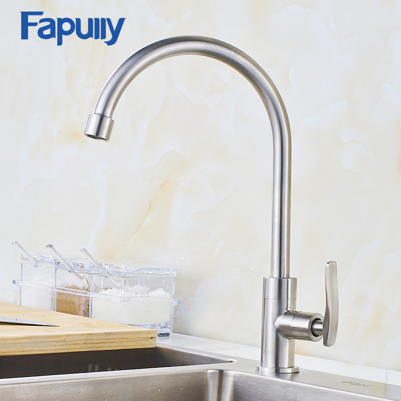 Fapully Kitchen Faucets Stainless Steel Nickel Brushed Brass Hot and Cold Taps Single Handle Mixer 935-33N-SS