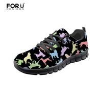 FORUDESIGNS Dog Sneakers Black Women Shoes Comfortable Breathable Lace up Shoes for Ladies Flats Casual Shoes Sapatos Feminino