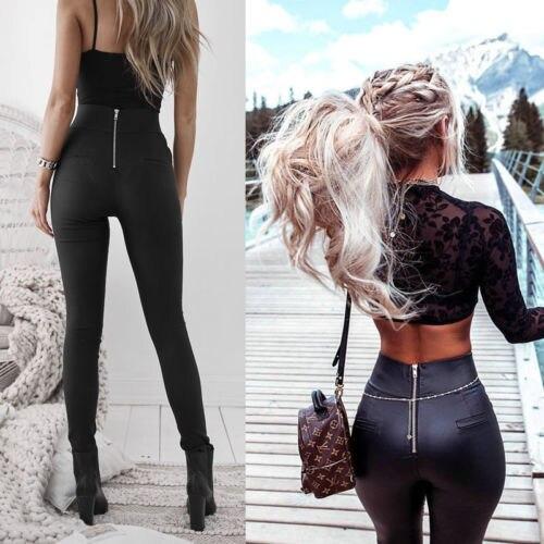 Mulheres senhora de couro sexy magro estiramento magro calças de cintura alta lápis ca