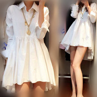 Soonyour Hot Spring And Summer 2017 Women S Chiffon White Black Dress Shirt Collar Irregular
