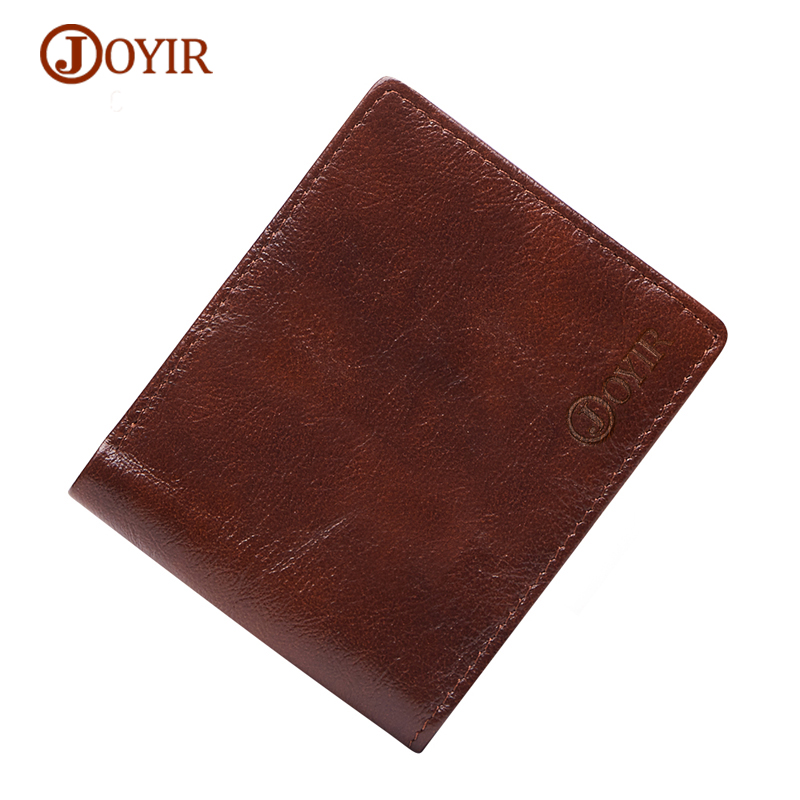 JOYIR Wallet Men Genuine Leather Short Men's Wallet Vintage Cow Leather Card Holder Photo Coin Purse Holder Male Wallet Small joyir vintage men genuine leather wallet short small wallet male slim purse mini wallet coin purse money credit card holder 523