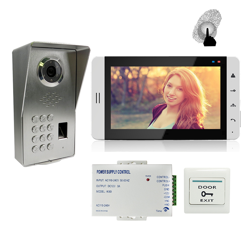 FREE SHIPPING 7 Touch Key White Monitor Video Door Phone Intercom System + Waterproof Fingerprint Code Keypad Outdoor Camera brand new wired 7 inch color video intercom door phone set system 2 monitor 1 waterproof outdoor camera in stock free shipping