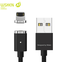 WSKEN Mini 2 Magnetic USB Cable For iPhone Cable USB  Magnetic Charger Mobile phone For Lighting Cables With LED Light 1 M
