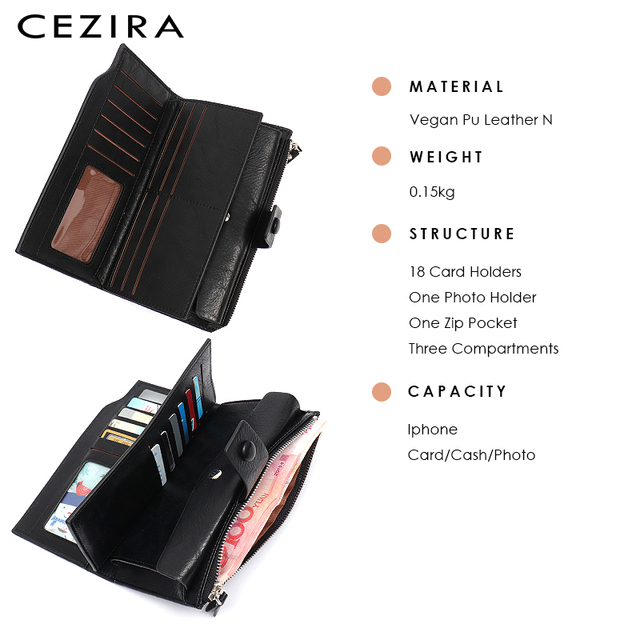 CEZIRA Large Capacity Women Big Wallet Female Cards Holder Multi Function Long Wallet Coin Pocket PU Leather Lady Clutch Purse 4