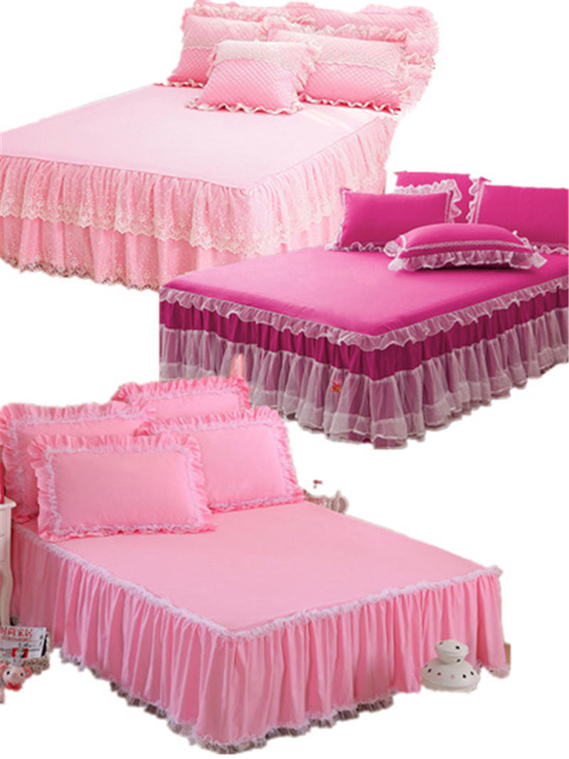 Neige blanc dentelle lit jupe taies d'oreiller 1/3 pièces mariage princesse literie filles couvre-lit drap pour